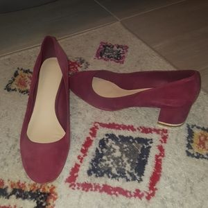 Aldo Low Heels - Cranberry with Gold Accent